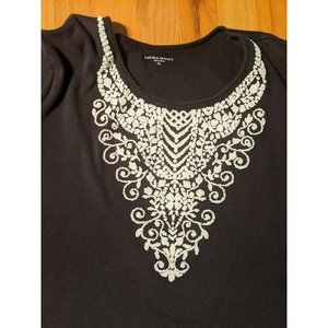 Women's XL Black with Ivory Faux Embroidery Crew N